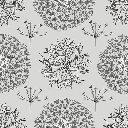 Vector Plants Including Dandelion Seed Heads on Gray Background Seamless Repeat Pattern. Background for textiles, cards, manufacturing, wallpapers, print, gift wrap and scrapbooking.