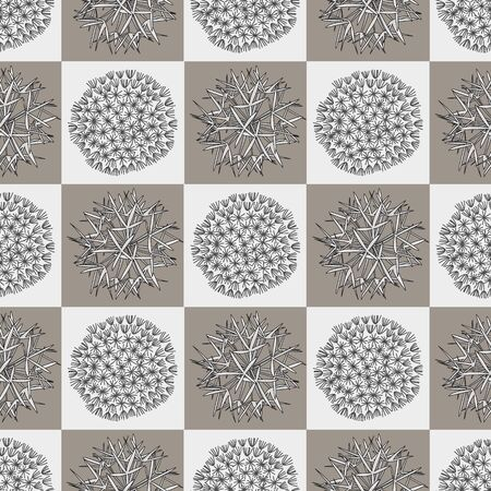 Vector Dandelion Seed Heads on Brown and Gray Squares Seamless Repeat Pattern. Background for textiles, cards, manufacturing, wallpapers, print, gift wrap and scrapbooking.