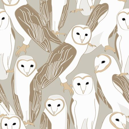 Vector Barn Owls on Taupe Background Seamless Repeat Pattern. Background for textiles, cards, manufacturing, wallpapers, print, gift wrap and scrapbooking. Ilustração
