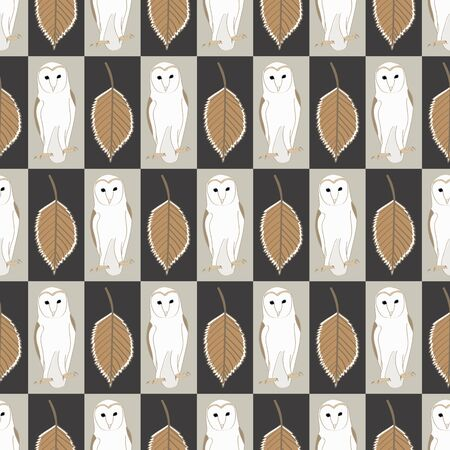 Vector Barn Owls with Brown Leaves Brown and Beige Rectangles Seamless Repeat Pattern. Background for textiles, cards, manufacturing, wallpapers, print, gift wrap and scrapbooking.