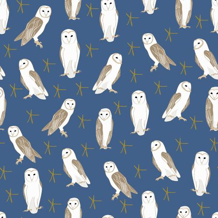 Vector Barn Owls with Gold Stars on Blue Background Seamless Repeat Pattern. Background for textiles, cards, manufacturing, wallpapers, print, gift wrap and scrapbooking.