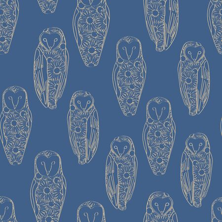 Vector Gold Line Art Floral Owls on Blue Background Seamless Repeat Pattern. Background for textiles, cards, manufacturing, wallpapers, print, gift wrap and scrapbooking. Ilustração
