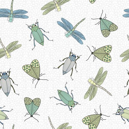 Vector Blue, Green and Yellow Bugs Scattered on White Background Seamless Repeat Pattern. Background for textiles, cards, manufacturing, wallpapers, print, gift wrap and scrapbooking.