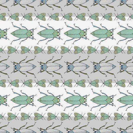 Vector Green and Blue Insects on Gray and White Stripes Seamless Repeat Pattern. Background for textiles, cards, manufacturing, wallpapers, print, gift wrap and scrapbooking. Ilustrace