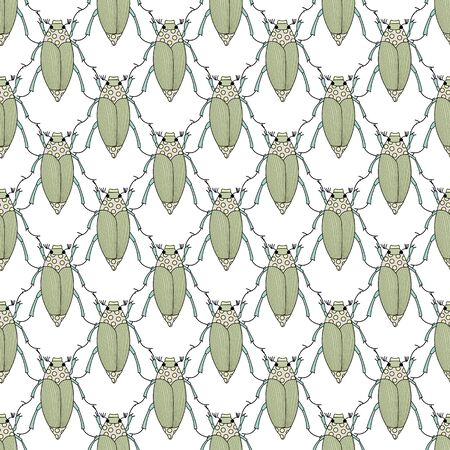 Vector Green and Yellow Insects on White Background Seamless Repeat Pattern. Background for textiles, cards, manufacturing, wallpapers, print, gift wrap and scrapbooking. Foto de archivo - 137260681