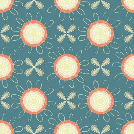Vector Orange Yellow Flowers with Green Leaves on Green Background Seamless Repeat Pattern. Background for textile, book covers, manufacturing, wallpapers, print, gift wrap and scrapbooking.