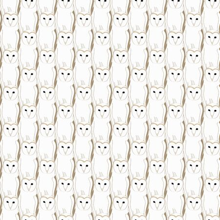 Vector Overlapping Barn Owls Seamless Repeat Pattern. Background for textiles, cards, manufacturing, wallpapers, print, gift wrap and scrapbooking.