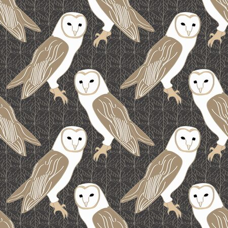 Vector Barn Owls on Brown Background Seamless Repeat Pattern. Background for textiles, cards, manufacturing, wallpapers, print, gift wrap and scrapbooking.