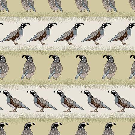 Oiseaux de caille de vecteur et pin achetés sur le motif de répétition sans couture de rayures d'or beige. Contexte pour le textile, les couvertures de livres, la fabrication, les papiers peints, l'impression, l'emballage cadeau et le scrapbooking.