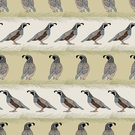 Vector Quail Birds and Pine Boughts on Beige Gold Stripes Seamless Repeat Pattern. Background for textile, book covers, manufacturing, wallpapers, print, gift wrap and scrapbooking. Ilustrace
