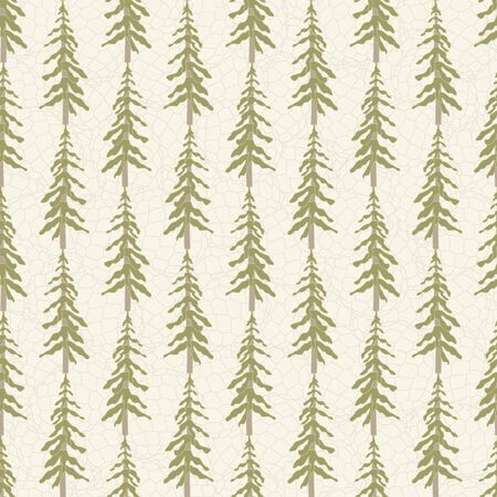 Vector Green Tree Forest on Textured Beige Background Seamless Repeat Pattern. Background for textile, book covers, manufacturing, wallpapers, print, gift wrap and scrapbooking. Banque d'images - 138245744