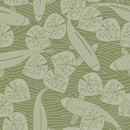 Vector Green Koi Fish and Leaves on a Green Background Seamless Repeat Pattern. Background for textiles, cards, manufacturing, wallpapers, print, gift wrap and scrapbooking.