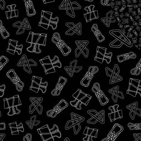 Vector White Line Art of Clips on Black Background Seamless Repeat Pattern. Background for textiles, cards, manufacturing, wallpapers, print, gift wrap and scrapbooking.  イラスト・ベクター素材