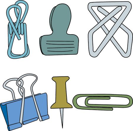 Vector Paper Clips Fasteners Thumb Tacks in Green Yellow Blue Gray Icon Set on White Background. Clip art for embellishing cards, newsletters, scrapbooking.