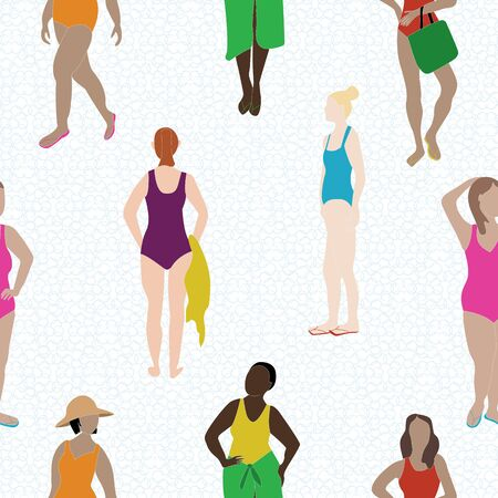 Vector Women in Swimsuits in Purple Red Blue Pink Yellow Orange on White Seamless Repeat Pattern. Background for textiles, cards, manufacturing, wallpapers, print, gift wrap and scrapbooking. 向量圖像