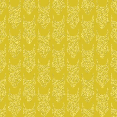 Vector Womens Swimsuits White Line Art on Yellow Background Seamless Repeat Pattern. Background for textiles, cards, manufacturing, wallpapers, print, gift wrap and scrapbooking.