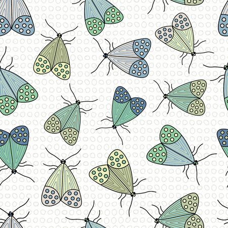 Vector Blue, Green and Yellow Moths on White Background Seamless Repeat Pattern. Background for textiles, cards, manufacturing, wallpapers, print, gift wrap and scrapbooking.