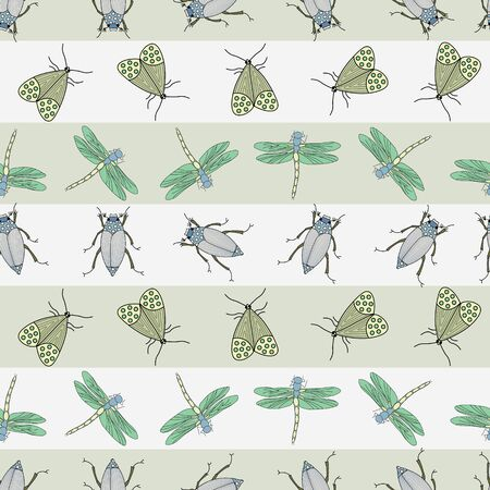 Vector Green, Yellow and Blue Insects on Green and White Stripes Seamless Repeat Pattern. Background for textiles, cards, manufacturing, wallpapers, print, gift wrap and scrapbooking. Illusztráció