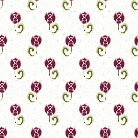 Vector Pink Flowers Buds with Green Leaves on a Textured White Background. Background for textiles, cards, manufacturing, wallpapers, print, gift wrap and scrapbooking.