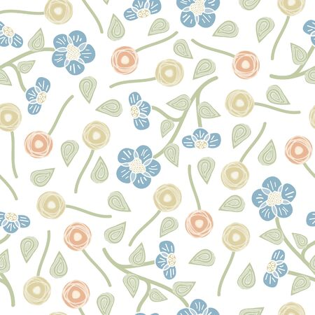 Vector Flowers in Blue Yellow Orange with Green Leaves on White Background Seamless Repeat Pattern. Background for textiles, cards, manufacturing, wallpapers, print, gift wrap and scrapbooking.