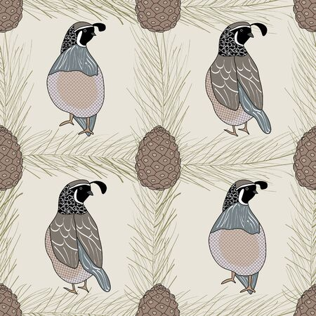 Vector Quail Birds and Pinecones on Beige Background Seamless Repeat Pattern. Background for textile, book covers, manufacturing, wallpapers, print, gift wrap and scrapbooking. Stock Illustratie