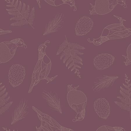 Vector Brown Quail Birds Pinecones Ferns Line Art on Purple Background Seamless Repeat Pattern. Background for textile, book covers, manufacturing, wallpapers, print, gift wrap and scrapbooking.