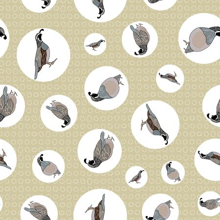 Vector Quail Birds in Black, Brown, Gray, White in Circles on Beige Background Seamless Repeat Pattern. Background for textile, book covers, manufacturing, wallpapers, print, gift wrap and scrapbooking.