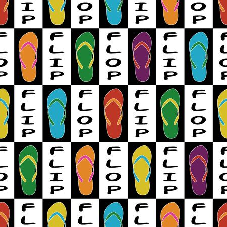 Vector Flip Flop Shoes with Text in Purple Yellow Orange Green Blue on White Background Seamless Repeat Pattern. Background for textiles, cards, manufacturing, wallpapers, print, gift wrap and scrapbooking. 向量圖像