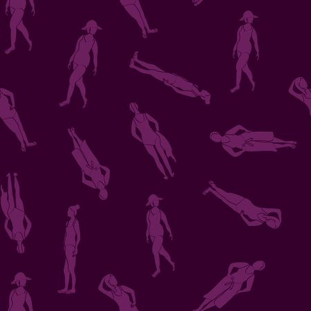 Vector Women in Swimsuits Silhouettes in Purple on Purple Seamless Repeat Pattern. Background for textiles, cards, manufacturing, wallpapers, print, gift wrap and scrapbooking.