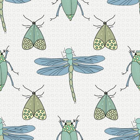 Vector Blue, Green and Yellow Insects on White Background Seamless Repeat Pattern. Background for textiles, cards, manufacturing, wallpapers, print, gift wrap and scrapbooking. Illusztráció