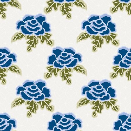 Vector Blue Rose Flowers with Green Leaves on a White Textured Background. Background for textiles, cards, manufacturing, wallpapers, print, gift wrap and scrapbooking.
