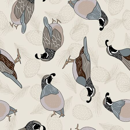 Vector Quail Birds and Plants Pinecones on Beige Background Seamless Repeat Pattern. Background for textile, book covers, manufacturing, wallpapers, print, gift wrap and scrapbooking.