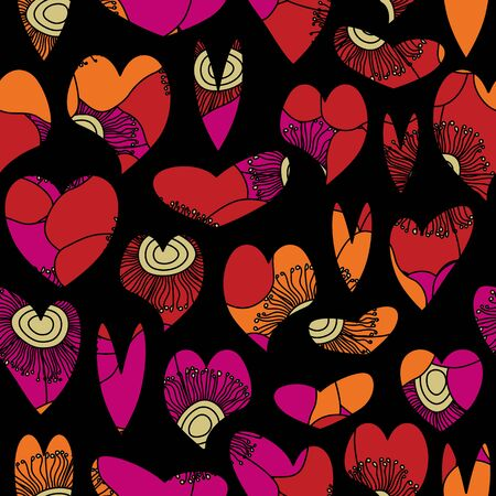 Vector Floral Hearts in Pink Orange Red Yelllow on Black Background Seamless Repeat Pattern. Background for textiles, cards, manufacturing, wallpapers, print, gift wrap and scrapbooking.