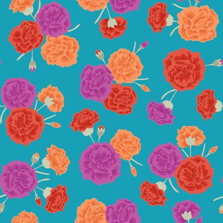 Vector Carnation Flowers in Purple Orange Red Scattered on Turquoise Blue Background Seamless Repeat Pattern. Background for textiles, cards, manufacturing, wallpapers, print, gift wrap and scrapbooking. 矢量图像