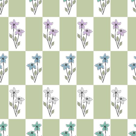 Vector Flowers in Blue Gray Pink Aqua Green Leaves on White Green Background Seamless Repeat Pattern. Background for textiles, cards, manufacturing, wallpapers, print, gift wrap and scrapbooking. Ilustrace