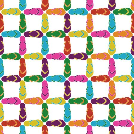 Vector Flip Flop Shoes Grid in Pink Purple Yellow Orange Blue on White Background Seamless Repeat Pattern. Background for textiles, cards, manufacturing, wallpapers, print, gift wrap and scrapbooking.