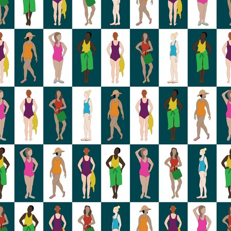 Vector Women in Swimsuits in Purple Blue Pink Yellow Orange on White Green Squares Seamless Repeat Pattern. Background for textiles, cards, manufacturing, wallpapers, print, gift wrap and scrapbooking.
