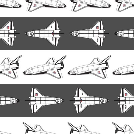 Vector Space Shuttles on White and Black Stripes Background Seamless Repeat Pattern. Background for textiles, cards, manufacturing, wallpapers, print, gift wrap and scrapbooking.