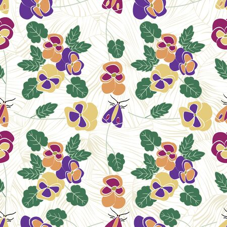 Vector Flowers Pansies and Bugs in Pink Orange Yellow Purple with Green Leaves Scattered on White Background Seamless Repeat Pattern. Background for textiles, cards, manufacturing, wallpapers, print,