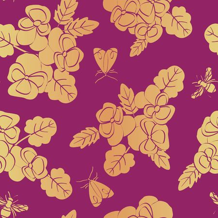 Vector Flowers Pansies and Insects in Orange Yellow Scattered on Pink Background Seamless Repeat Pattern. Background for textiles, cards, manufacturing, wallpapers, print, gift wrap and scrapbooking.  イラスト・ベクター素材