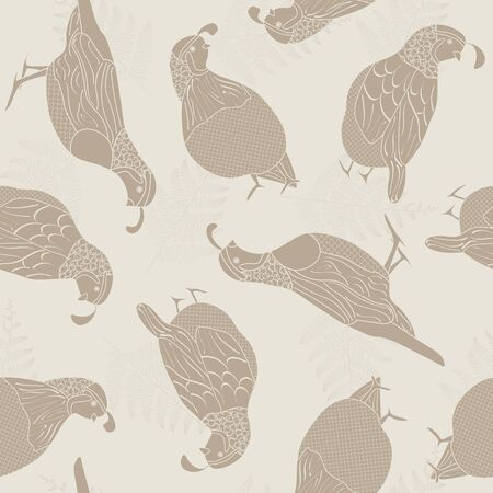 Vector Quail Birds Ferns Brown Silhouettes on Beige Background Seamless Repeat Pattern. Background for textile, book covers, manufacturing, wallpapers, print, gift wrap and scrapbooking.