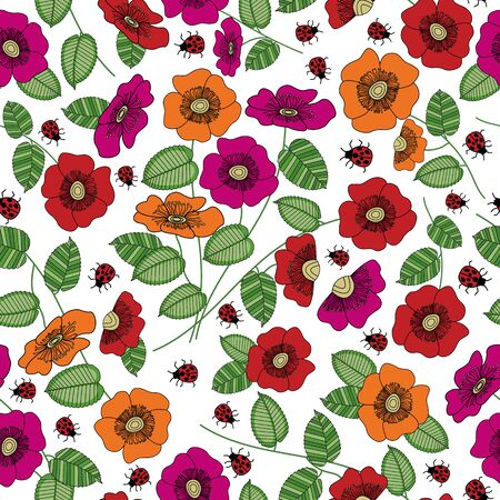 Vector Flowers in Pink Orange Red with Green Leaves on White Background Seamless Repeat Pattern. Background for textiles, cards, manufacturing, wallpapers, print, gift wrap and scrapbooking. Ilustrace