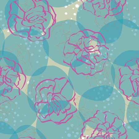 Vector Carnation Flowers Outlines in Pink Scattered on Turquoise Blue and Green Background Seamless Repeat Pattern. Background for textiles, cards, manufacturing, wallpapers, print, gift wrap and scrapbooking.