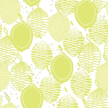 Vector Fruit Yellow Lemons on White Seamless Repeat Pattern. Background for textiles, cards, manufacturing, wallpapers, print, gift wrap and scrapbooking. Vettoriali