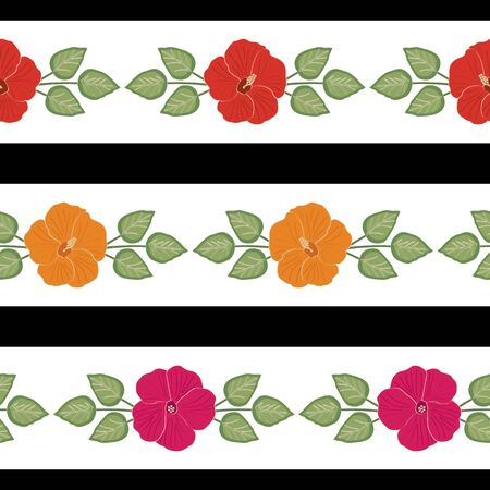 Vector Hibiscus Flowers in Pink Red Orange with Green Leaves on White and Black Stripes Seamless Repeat Pattern. Background for textiles, cards, manufacturing, wallpapers, print, gift wrap and scrapbooking. Ilustracja