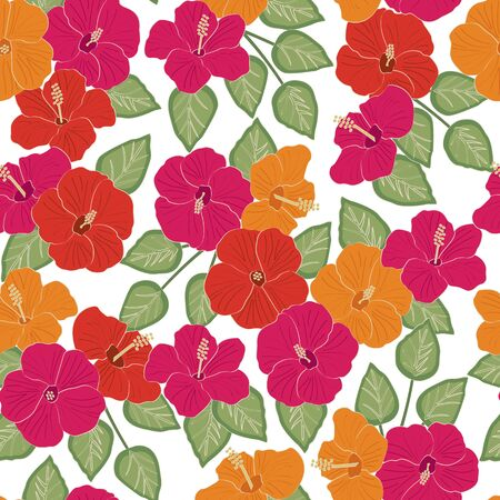Vector Hibiscus Flowers in Pink Red Orange with Green Leaves on White Background Seamless Repeat Pattern. Background for textiles, cards, manufacturing, wallpapers, print, gift wrap and scrapbooking.