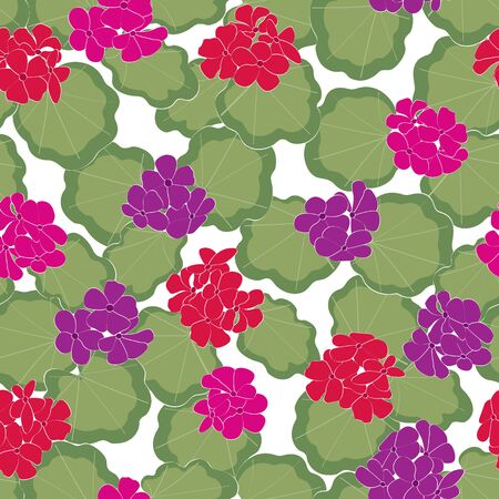 Vector Geranium Flowers in Pink Red Purple with Green Leaves on White Background Seamless Repeat Pattern. Background for textiles, cards, manufacturing, wallpapers, print, gift wrap and scrapbooking.