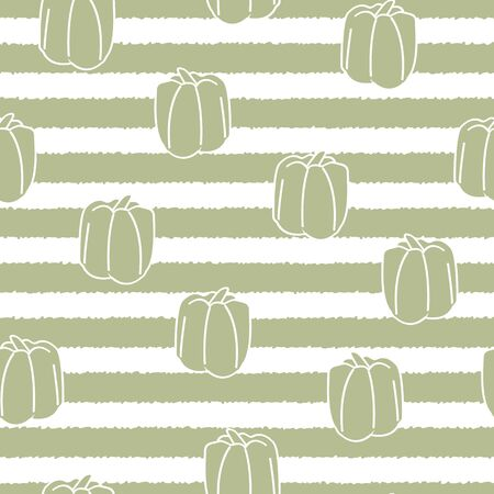 Vector Vegetables Green Bell Sweet Peppers on Green and White Stripes Seamless Repeat Pattern. Background for textiles, cards, manufacturing, wallpapers, print, gift wrap and scrapbooking.