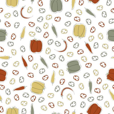 Vector Vegetables Bell Sweet Cayenne Chili Peppers Scattered on White Seamless Repeat Pattern. Background for textiles, cards, manufacturing, wallpapers, print, gift wrap and scrapbooking.