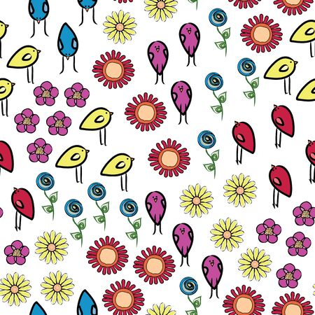 Vector Flowers and Birds in Red Blue Purple Yellow Green Scattered on White Background Seamless Repeat Pattern.
